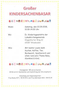 Kindersachenbasar 2018 09 22